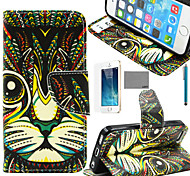 LEXY® Green Cat Tribal Pattern PU Full Body Leather Case with Screen Protector and Stylus for iPhone 5/5S
