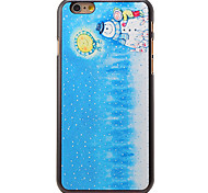 Christmas Style Kids with Snowman and Moon Pattern PC Hard Back Cover for iPhone 6 Plus