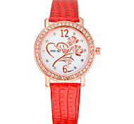 Women's Casual Leather Band Rhinestone Watch