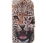 картины леопарда PU кожаный чехол для всего тела с слот для карт и стоять Samsung Galaxy S4 мини