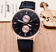 reloj de la mujer de los ojos son la correa de cuero reloj de cuarzo calendario escala fina
