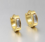 European and American fashion golden glass studs Hoop Earrings Wedding / Party / Daily / Casual 2pcs
