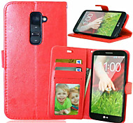 High Quality PU leather Wallet Mobile Phone Holster Case For LG G2(Assorted Color)