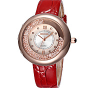 Women's Fashion Watch Quartz Water Resistant / Water Proof Imitation Diamond Leather Band Black White Red Pink Brand SKONE