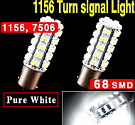 2X Xenon White 1156 BA15S 68-SMD RV Camper Turn Signal LED Light bulbs 1141 1003