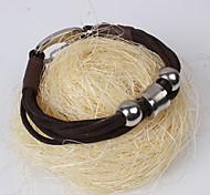 Men's Cowhide Braided Bracelet - Brown