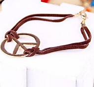 Vintage Antiwar Brown Leather Cord Bracelet Bangle Jewelry