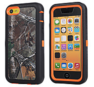 Branch Camouflage Shockproof Case W/ Build-in Screen Protector for iPhone 5C Plastic + TPU Cover With