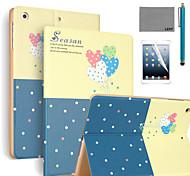 lexy® motif de ballon romantique cas de stand PU cuir flip avec protecteur d'écran et un stylet pour iPad air 2 / ipad 6