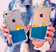 Luxury Rhinestone Diamond Bling Design Fluid Liquid Flowing Yellow Duck PC Hard Case for iPhone 5/5S (Random colors)