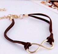 Women Brown Leather Cord Bangle Gold 8 Word Bracelet Jewelry