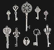 Beadia Metal Key Pendants Antique Silver Plated Alloy Charm Pendants 10 Styles U-Pick