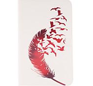rouge motifs de plumes en cuir PU cas de tout le corps avec support et une carte slot pour galaxy tab 9.6 e T560
