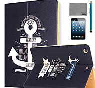 lexy® padrão vela diário caso pu estande da aleta de couro com protetor de tela e caneta para iPad mini 1/2/3