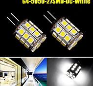 2x g4 puro 27smd led bianchi 5050 lampadina cristallo barca gabinetto auto camper dc 12v noi