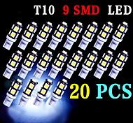 20 x t10 blanco estupendo cuña 9 SMD 5050 LED bombillas 192 168 194 W5W 2825 158