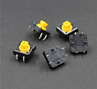 12 x 12 x 7.3mm Button Switches - Black +Yellow (5 PCS)