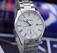 L.WEST Men's Steel Belt Of Waterproof Blue Glass CalendarQuartz Pointer Watch Wrist Watch Cool Watch Unique Watch