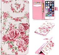 Pink Roses Pattern Relief  PU Leather Wallet Case with Stand and Card Holder for iphone 6plus/6Splus