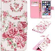 rosa padrão de rosas alívio caso pu carteira de couro com stand titular e cartão para iphone 6 / 6s