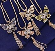 Fashion Butterfly Pendant Tassel Long Sweater Necklace