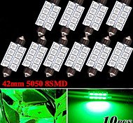"10 X 578 211-2 Festoon 1.72"" Green 42MM 5050 8-LED Dome Map Interior Light bulb"