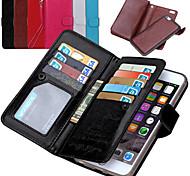de ji de la PU billetera de cuero con 9 tarjeta del tirón ranura para el iphone 6 más / 6s más (colores surtidos)
