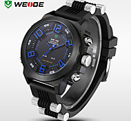 WEIDE Men Luxury Sport Watch Double Time LED Waterproof Rubber Band Wristwatch