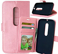 High Quality PU leather Wallet Mobile Phone Holster Case For Motorola Moto G3(Assorted Color)