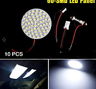 10X Xenon White Festoon BA9S T10 60-SMD LED Light Panel Car RV Camper Interior