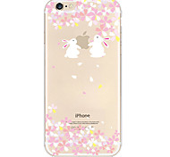 White Rabbit Pattern TPU Material Soft Phone Case for iPhone 6/6S