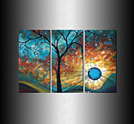 Hand-Painted Modern Tree Sun Moon Wall Art Decoration  Oil Painting on Canvas  3pcs/set Without Frame