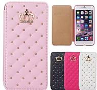 cubierta de cuero de la PU patrón de rejilla de la corona de la reina para el iphone 6s 6 más