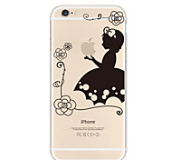 Lace Girl Holding Apple Pattern TPU Soft Case for iPhone 6/6S