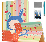 LEXY® Kindheart Bunny Pattern PU Leather Flip Stand Case with Screen Protector and Stylus for iPad Air 2/iPad 6
