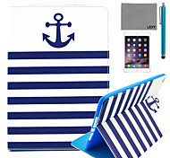LEXY® Navy Blue Anchor Pattern PU Leather Flip Stand Case with Screen Protector and Stylus for iPad Air 2/iPad 6