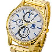 Herren Armbanduhr Quartz Legierung Band Gold Gold