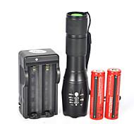 Lampes Torches LED LED 5 Mode 1800 Lumens Etanche / Rechargeable / Résistant aux impacts / Tête crénelée / Tactique / Urgence Cree XM-L T6