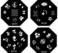 10pcs entrega aleatória unha arte carimbar imagem modelo de placas com selo