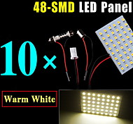 10PCS Festoon T10 BA9S Warm White LED 48-SMD Panel Interior Dome Map Light Bulbs