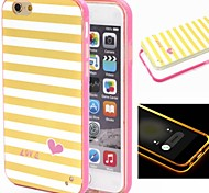 2-in-1 Yellow White Lattice Pattern TPU Back Cover with PC Bumper Shockproof Soft Case for iPhone 6 plus