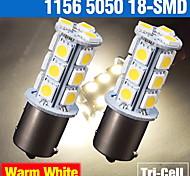 2 x warmweiß 1156 BA15S 18 smd 5050 Blinker Backup LED-Lampen Rückwärts