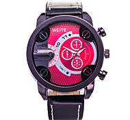 Men's Fashion Watch The New Business Casual PU Leather Watch Three Six-Pin Quartz Watches(Assorted Colors)