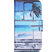 Sandy Beach Pattern PU Leather Full Body Case with Stand and Card Slot for iPhone 4/4S