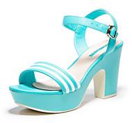 Aokang® Women's Stripe Platform Chunky Heel Sandals (blue)- 142825002