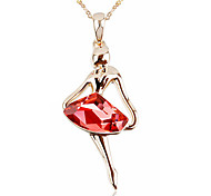 T&C Women's Elegant Gift 18k Rose Gold Plated Red Rhombus Crystal Dancing Girl Ruby Pendant Necklace