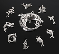 Beadia Antique Silver Metal Dolphin Shark Mermaid  Fish Charm Pendants DIY Jewelry Pendant 10 Styles