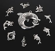 beadia fascino metallo delfino squalo sirena pesce d'argento antico ciondolo pendente gioielli fai da te 10 stili