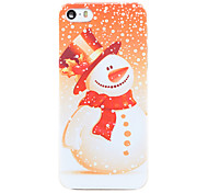 Christmas Style Orange Snowman Pattern Transparent PC Back Cover for iPhone 5/5S