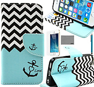LEXY® Wave Anchor Pattern PU Full Body Leather Case with Screen Protector and Stylus for iPhone 5/5S